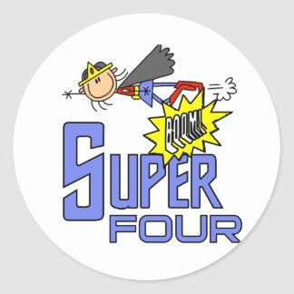 Superhero Girl 4th Birthday Tshirts and Gifts Round Sticker