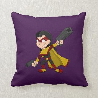 Superhero girl cartoon throw pillow