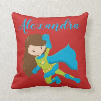 Superhero Girl Flying Hero POP BANG Throw Pillow