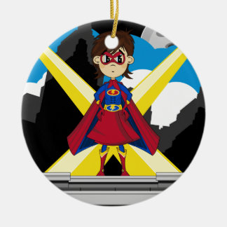 Superhero Girl on Rooftop Round Ceramic Ornament