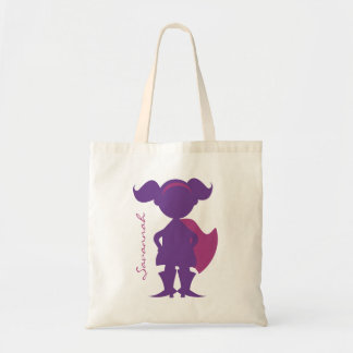 Superhero Girl Silhouette Personalized Purple