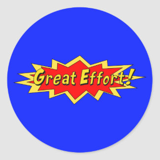 Superhero Great Effort Teacher Reward Classic Round Sticker