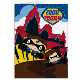 Superhero in City Scene Birthday Card