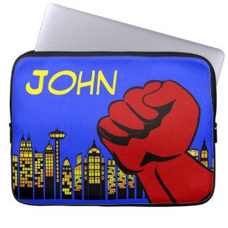 Superhero laptop case with custom name