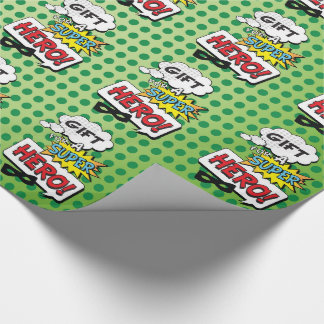 Superhero Mask Comic Birthday Wrapping Paper