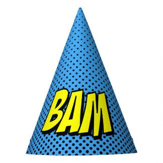 Superhero Party Hat - Blue Black Dot BAM