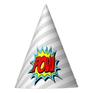 Superhero Party Hat - Gray White Stripe - POW