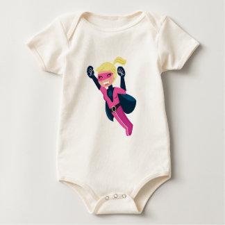 Superhero pink girl baby bodysuit