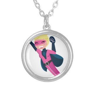 Superhero pink girl silver plated necklace