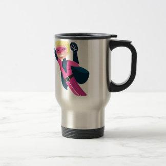 Superhero pink girl travel mug