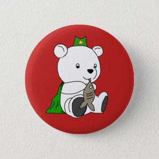 Superhero polar bear 2 inch round button