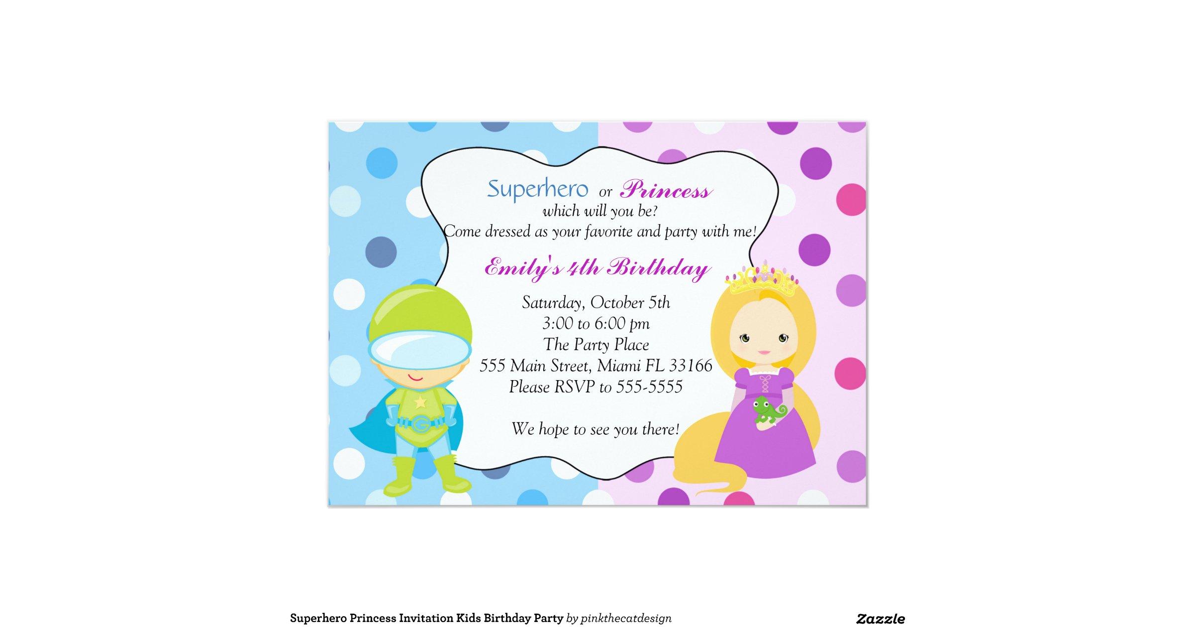 Superhero Princess Invitation Kids Birthday Party Zazzle Pink 40th ...