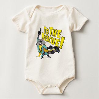 Superhero Raccoon To The Rescue Baby Bodysuit