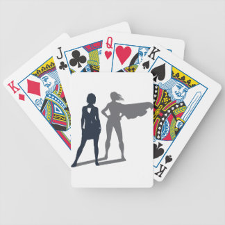 Superhero Shadow Businesswoman Bicycle Playing Cards