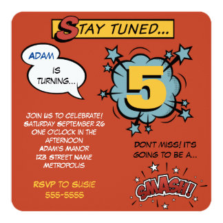 "Superhero Smash! 5.25"" Square Invitation Card"