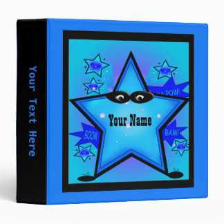 Superhero Star Boy Custom Blue Kids Binder