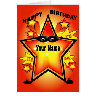 Superhero Star Happy Birthday Card
