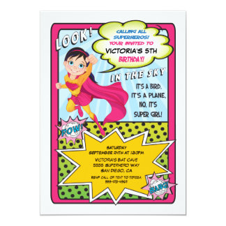 Superhero Super Girl Comic book Invitations