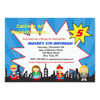 Superhero Super Hero Birthday Party Invitations