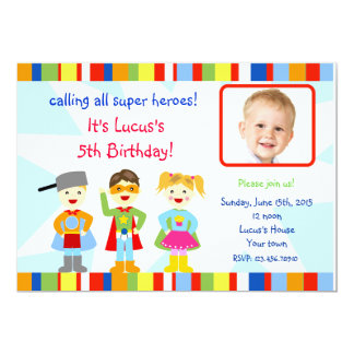 Superhero Super Hero Photo Birthday Invitations