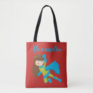 Superhero SuperGirl Flying Hero Girl Power Name Tote Bag