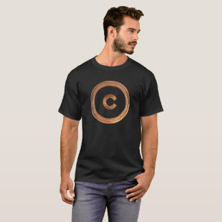 Superhero Symbol Bronze C Letter Black T-Shirt