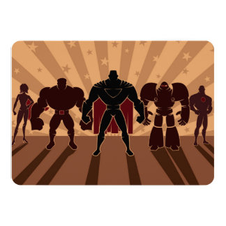 "Superhero Team Silhouettes 5"" X 7"" Invitation Card"