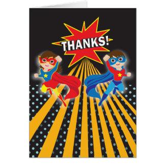 Superhero | Twins Thank You Card
