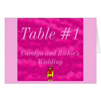 Superhero Wedding Table Card - Pink