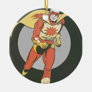 Superhero with Blast Symbol running Round Ceramic Ornament