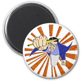 Superhero with Pencil Fridge Magnet