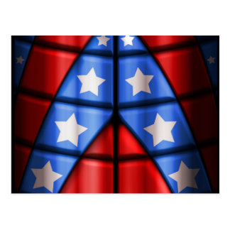 Superheroes - Blue Red White Stars Post Cards