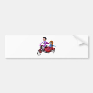 Superheroes in a Moped with a Sidecar Bumper Sticker