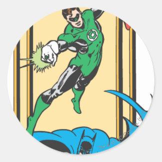 Superheroes In Action Round Sticker