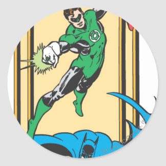 Superheroes In Action Round Stickers