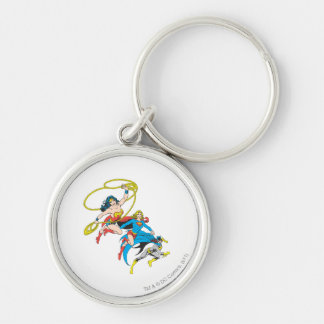 Superheroines Leap Silver-Colored Round Keychain