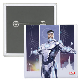 Superior Iron Man And City 2 Inch Square Button