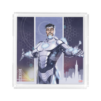 Superior Iron Man And City Acrylic Tray