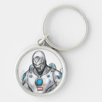 Superior Iron Man Sketch Silver-Colored Round Keychain