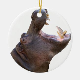 Superior product of hippopotamus round ceramic ornament