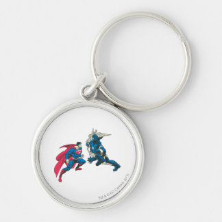 Superman 6 Silver-Colored round keychain