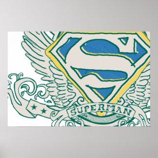 Superman a stylisé le logo de crête esquissé par   poster