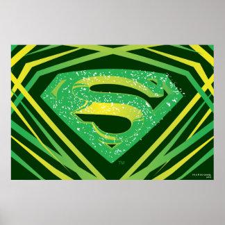 Superman a stylisé le logo décoratif vert de   poster