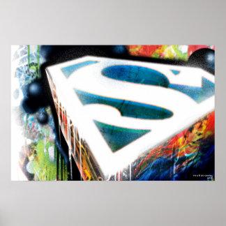 Superman a stylisé le logo urbain de graffiti de | poster