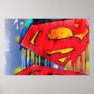 Superman a stylisé le logo urbain de   Spraypaint Poster