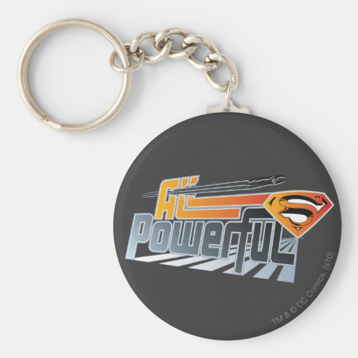 Superman All Powerful Basic Round Button Keychain