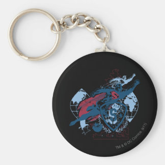 Superman and Map Basic Round Button Keychain