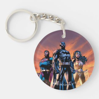 Superman, Batman, & Wonder Woman Trinity Double-Sided Round Acrylic Keychain