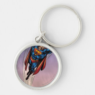 Superman both arms raised Silver-Colored round keychain