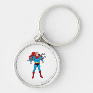 Superman Breaks Chains Silver-Colored Round Keychain